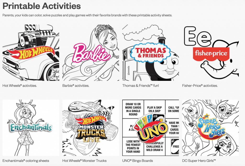 printable activities screenshot